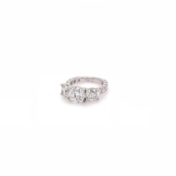 3 stone diamond engagement ring-platinum setting