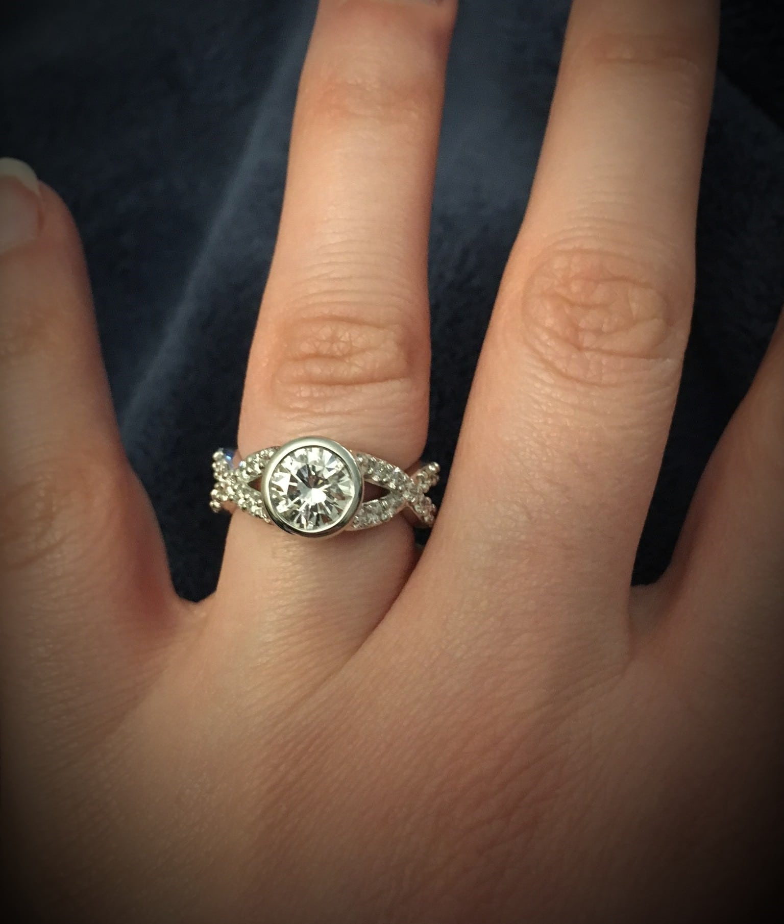 Custom Design Bezel Set Engagement Ring