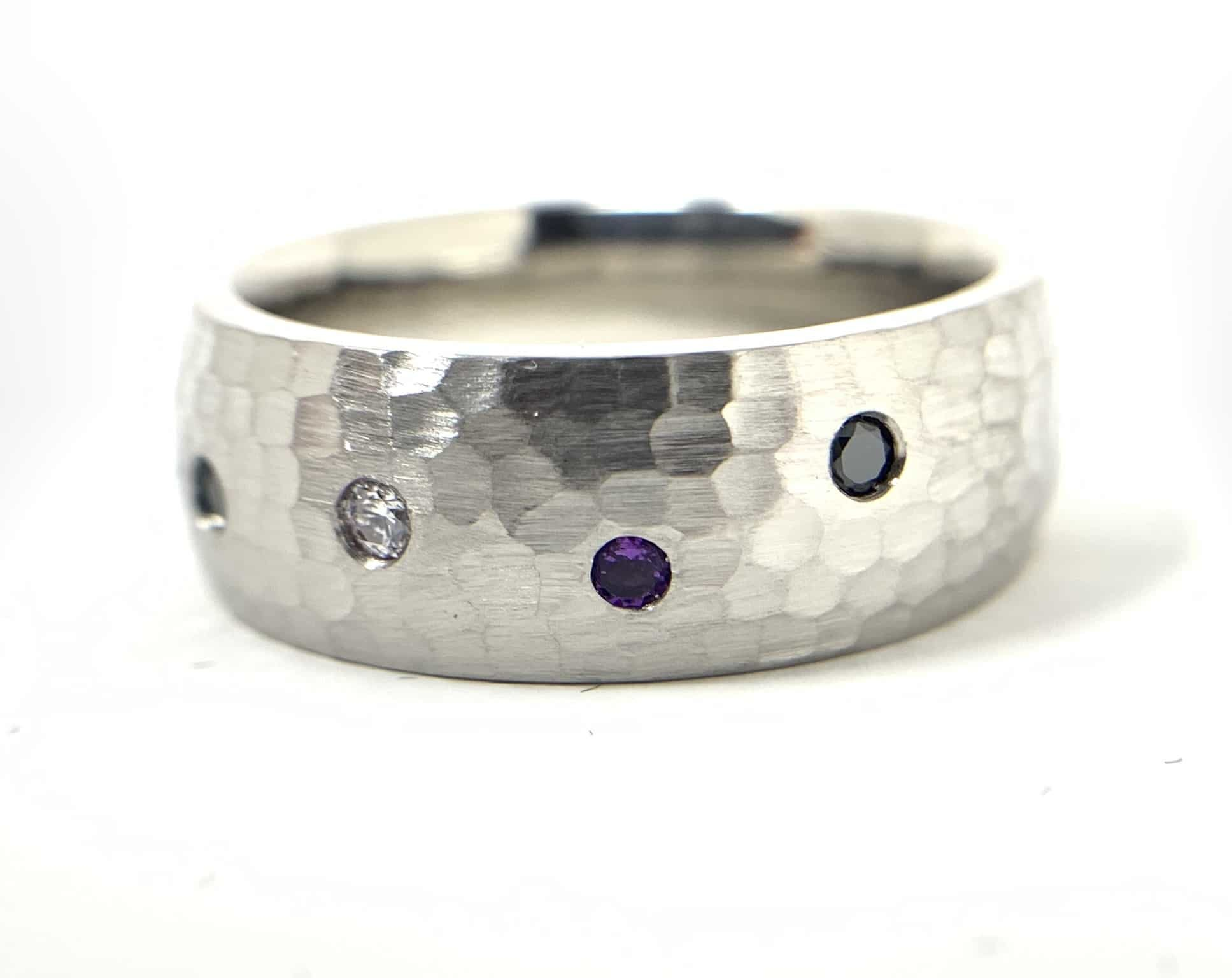 Custom Design wedding band with gemstones