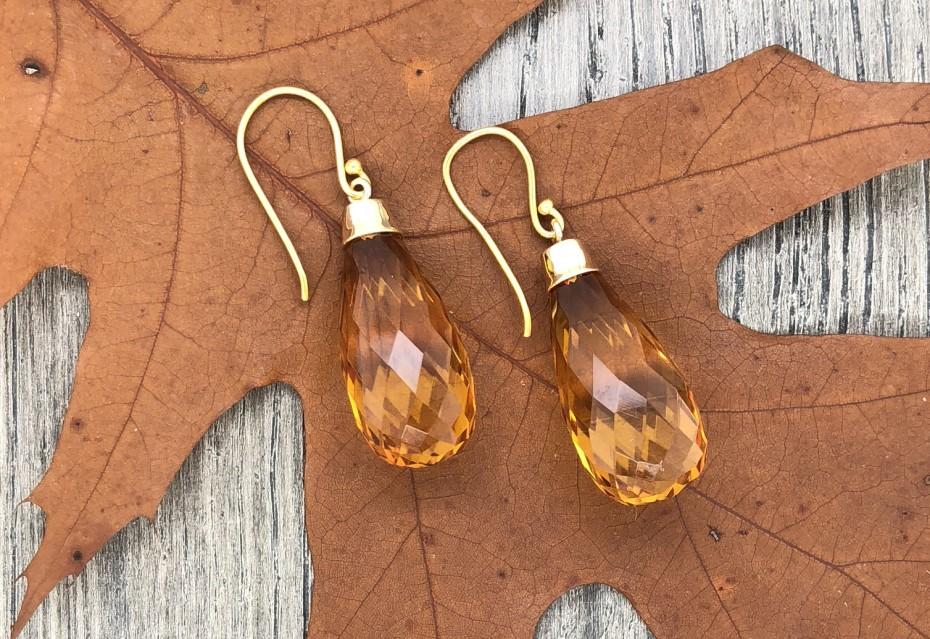 Briolette Amber Earrings