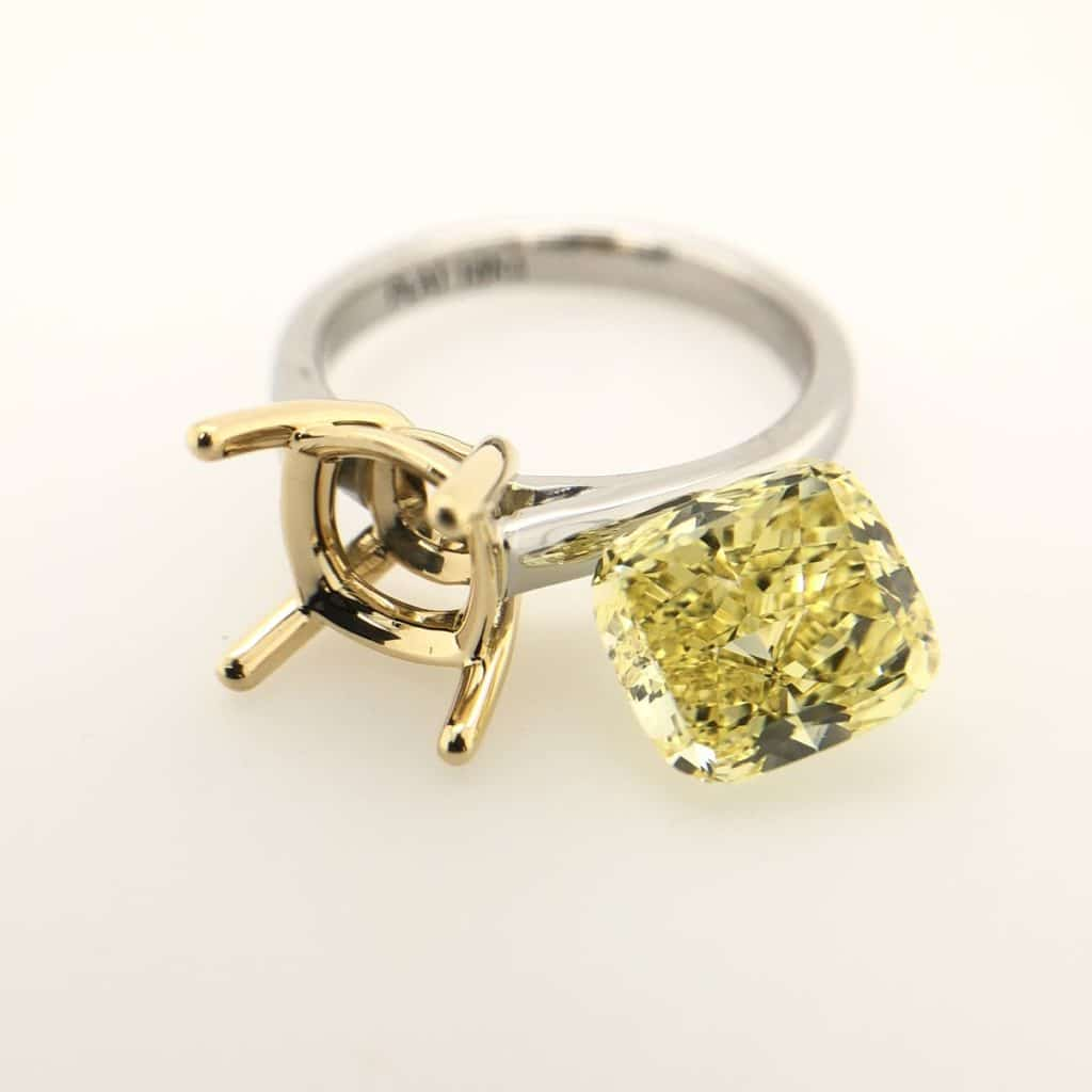 3 carat cushion cut yellow diamond