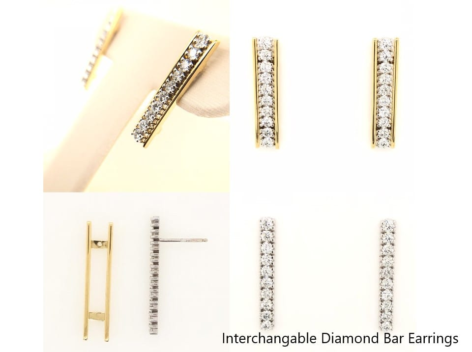 Custom Designed Diamond Bar Earrings
