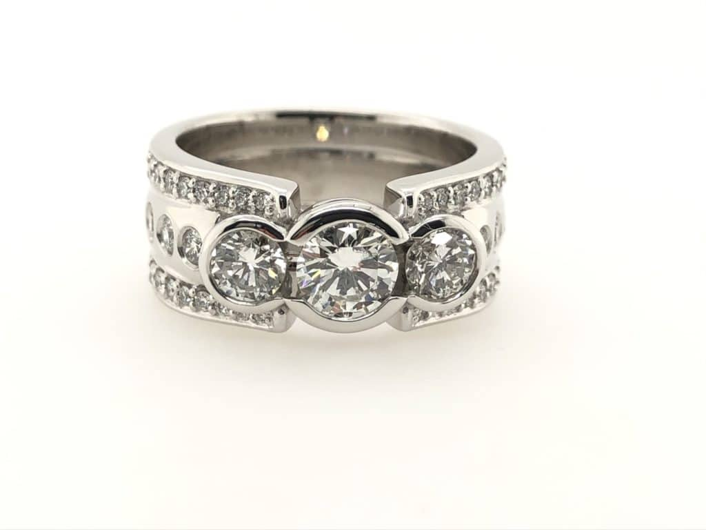 3 Stone Engagement Ring K. Alan Smith, Jeweler