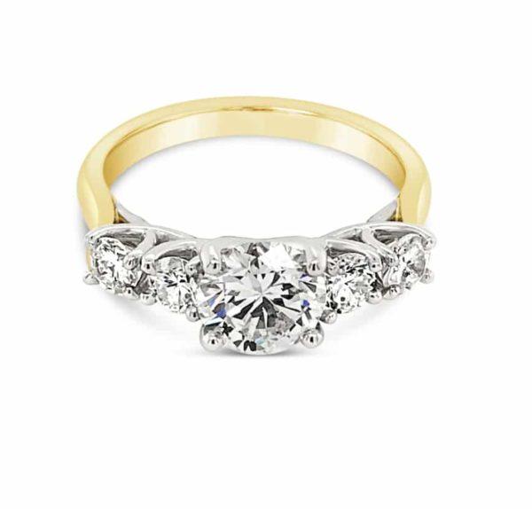 Lattice Design 5 Diamond Engagement Ring