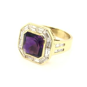18 Karat Gold Amethyst and Baguette Diamond Ring