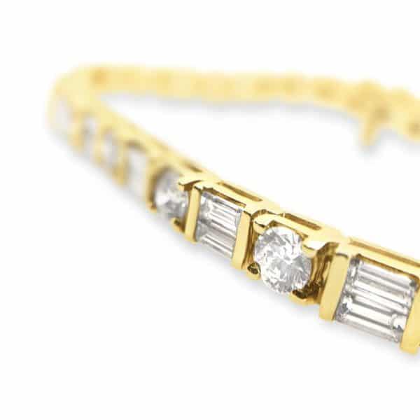 Baguette and Diamond Bracelet Close