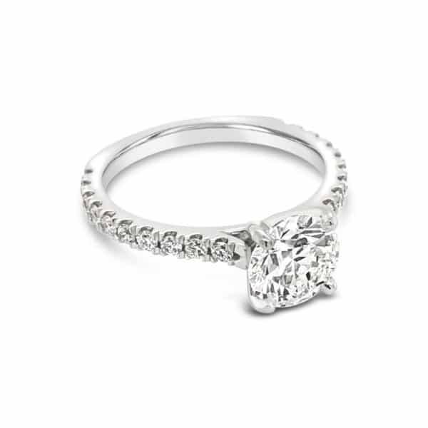 Diamond Solitaire French Pave' Setting