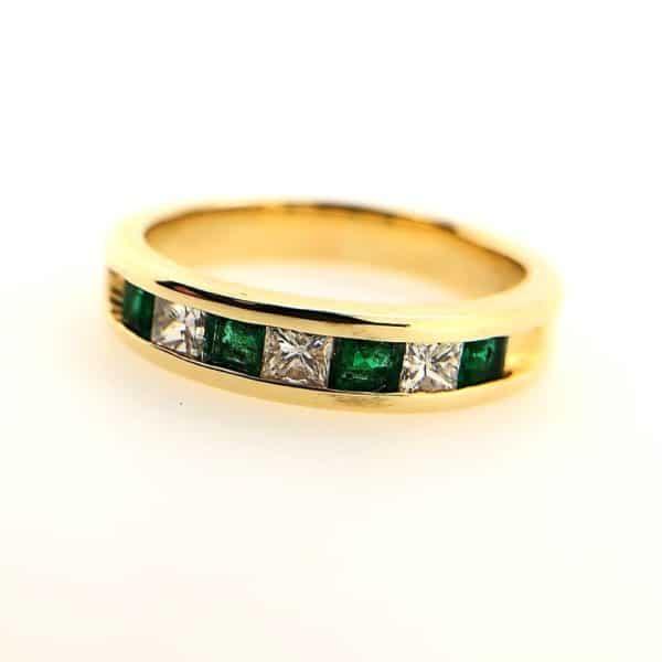 Emerald and Diamond Eternity Band
