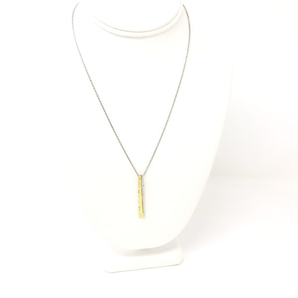 Gold and Diamond Bar Necklace 2