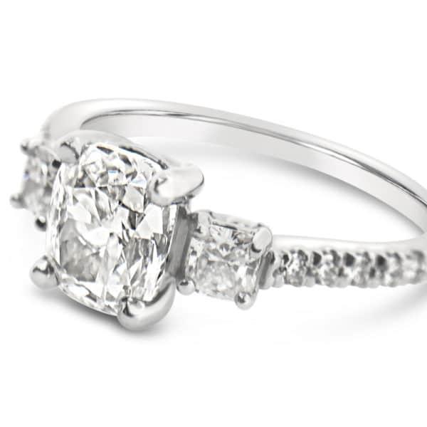 Cushion Cut 3 Stone Diamond Engagement Ring
