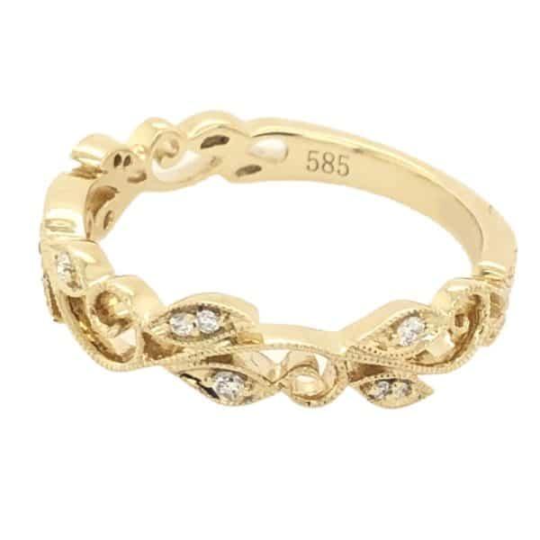Milgrain Scroll Diamond Ring 2