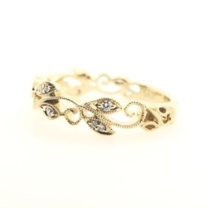 Milgrain Scroll Diamond Ring