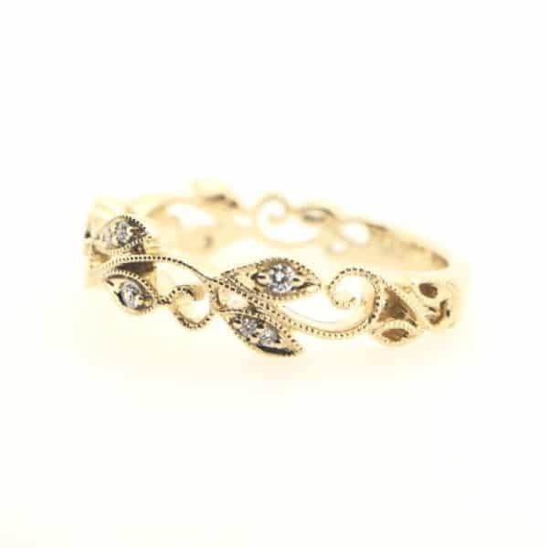 Milgrain Scroll Diamond Ring