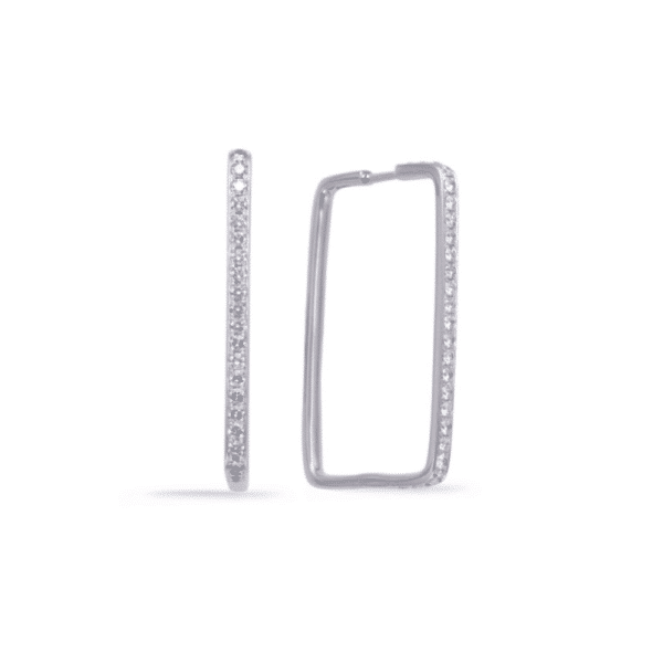 Pave Diamond Rectangular Hoops