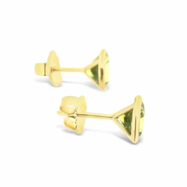 Bezel Set Peridot Earrings