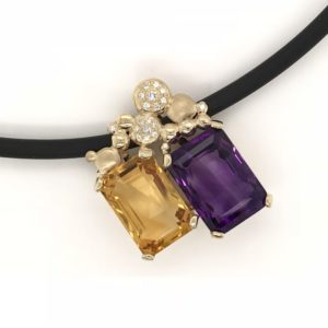 Citrine and Amethyst Pendant