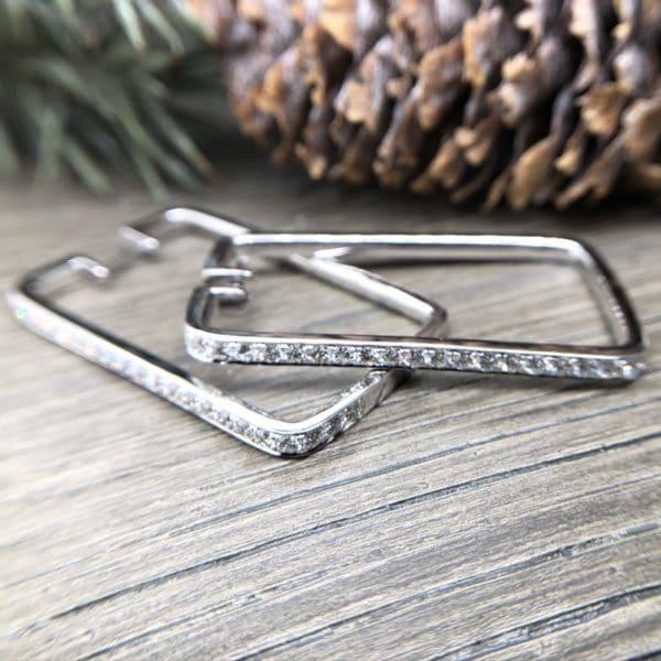 Rectangular Pave Diamond Hoops