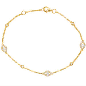 Yellow Gold Diamond Cluster Bracelet