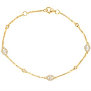 Yellow Gold Diamond Cluster Bracelet