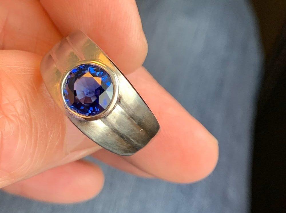 Custom Designed Mens Sapphire Ring